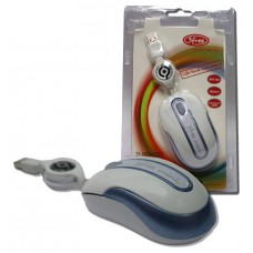 MOUSE MINI OPTICO USB 3FREE MSM201/WB CABLE RETRACTIL