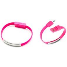 Pulsera Cable Carga/Datos MicroUSB Universal Rosa (Espera 2 dias)