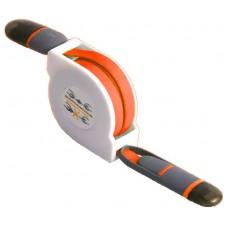 Cable Retráctil USB a Lightning+MicroUSB Naranja (Espera 2 dias)