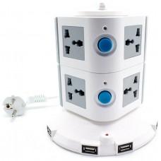 Regleta Universal 8 Entradas + 5 Salidas USB Gris-Blanco (Espera 2 dias)