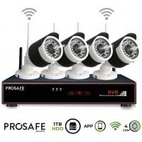Kit Seguridad Grabador Vídeo Inalámbrico 4 Cámaras 4CH WIFI NVR ProSafe (Espera 2 dias)