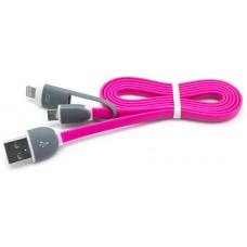 Cable Plano USB a Micro USB + Lightning Fucsia (Espera 2 dias)