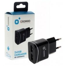 Cargador de Corriente 2.1A CROMAD 2x USB Negro (Espera 2 dias)
