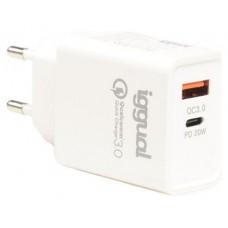 iggual Cargador doble USB QC3.0 + tipo C PD 20W