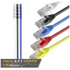 Pack 5 Cables Ethernet CAT6 RJ45 24AWG 1.5m + 15 Bridas Max Connection (Espera 2 dias)