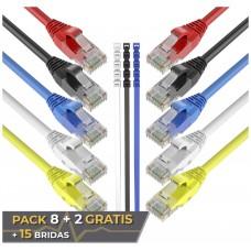 Pack 10 Cables Ethernet CAT6 RJ45 24AWG 1.5m + 15 Bridas Max Connection (Espera 2 dias)