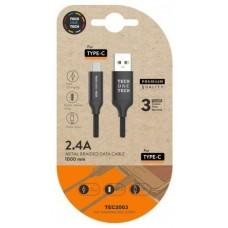 CABLE DE CARGA/SYNC TECH ONE TECH USB-C 1M NEGRO